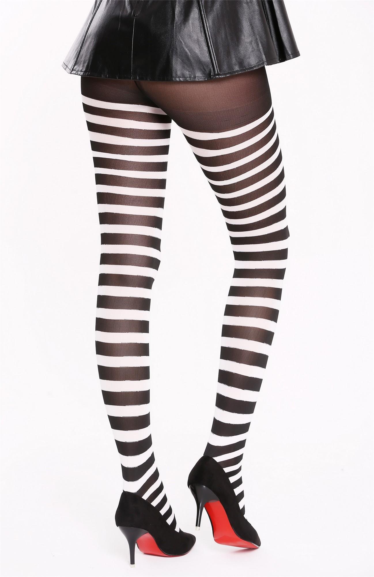 Schwarze Strumpfhose mit weißen Streifen Modell: BB ...